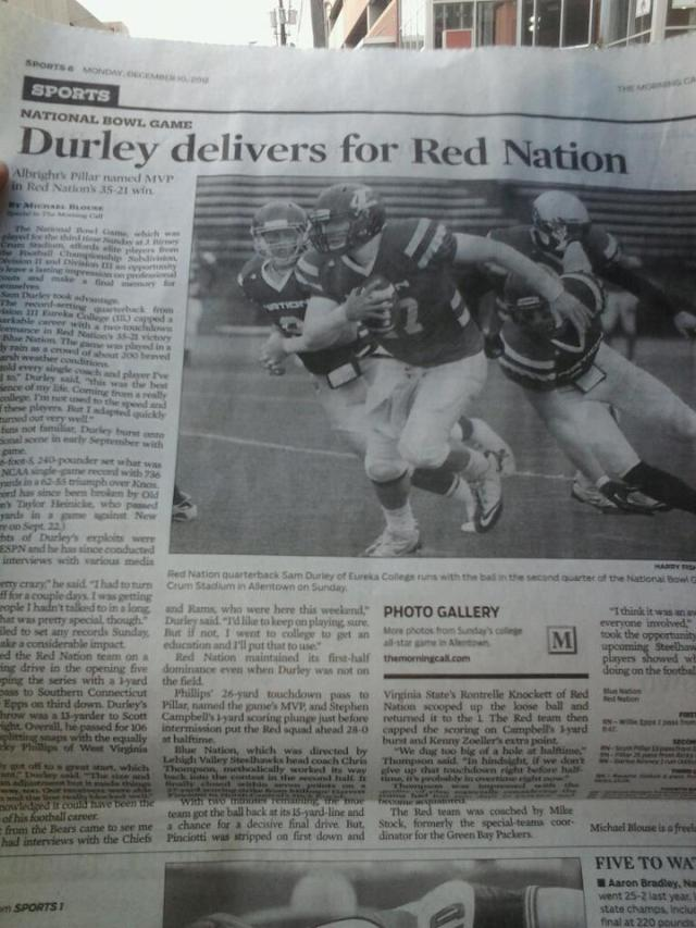 Sam Durley National Bowl MVP Offense Broke NCAA Passing Record 736 Yards